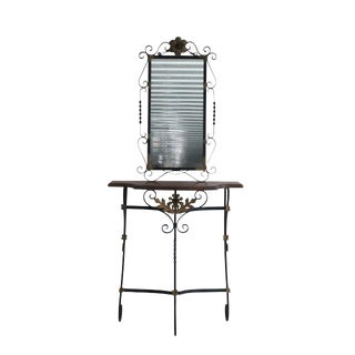 Gilded Iron & Walnut Console With Mirror For Sale