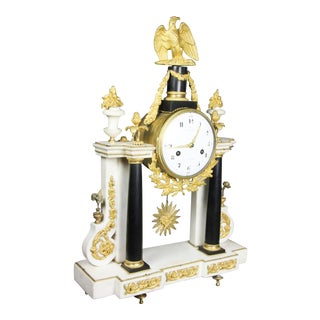 Late Louis XVI Ormolu-Mounted Black and White Marble Mantle Clock by Furet