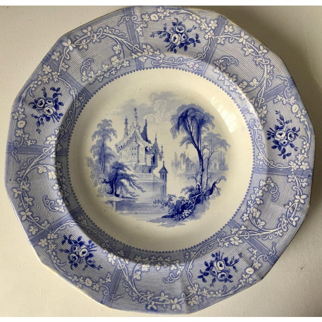 Asian Antique English Staffordshire Chinoiserie Soup Bowls-Davenport For Sale - Image 3 of 10