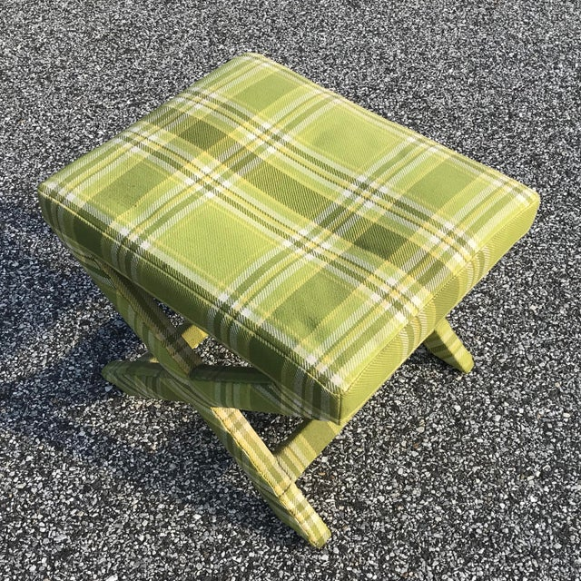 Hollywood Regency Mid Century Billy Baldwin Upholstered Parsons X Bench For Sale - Image 3 of 9