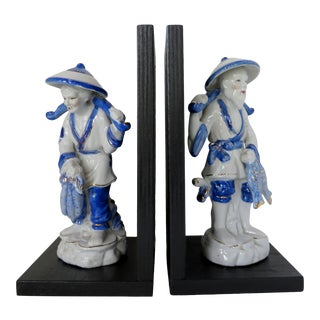 Japanese Figural Bookends, a Pair For Sale