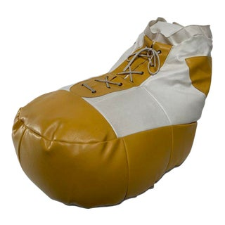 1970s White and Yellow De Sede Sneaker Bean Bag Chair or Ottoman For Sale