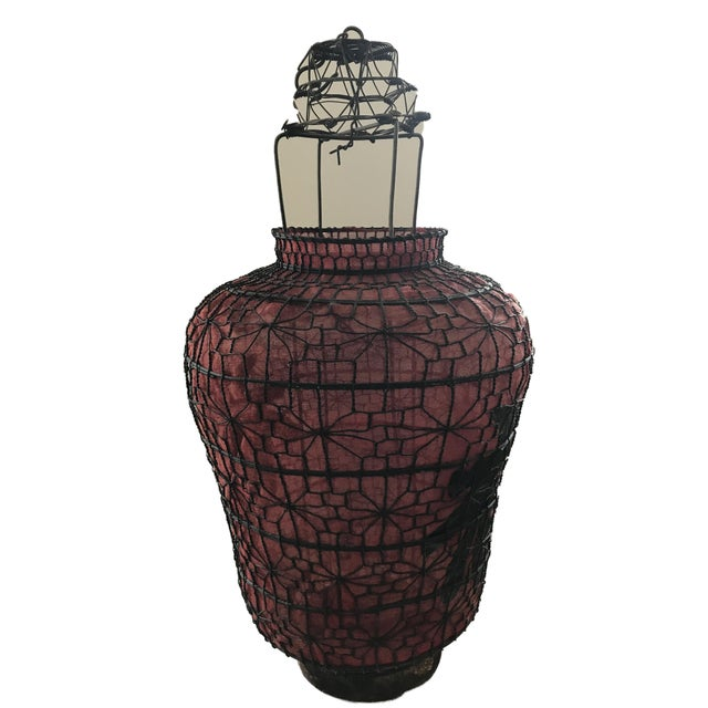 "Asian Old Chinese Red Lanterns 28"" H For Sale - Image 3 of 7"