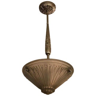 French Art Deco Frosted Glass Pendant Chandelier by Verrerie Des Vosges For Sale