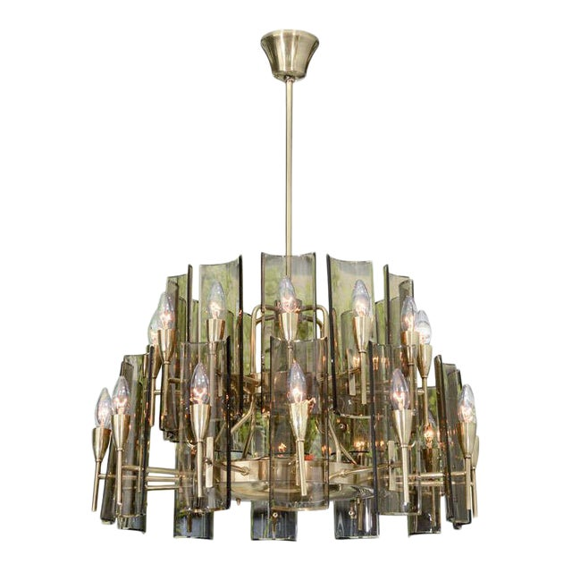 Stunning Chandelier in the Style of Fontana Arte For Sale