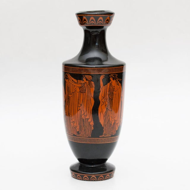 A lovely small glazed ceramic Greek amphora from mid of the 20th century. Excellent condition - no damages, minor age wear...