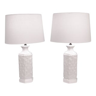 White Ceramic Faux Bamboo Lamps - a Pair For Sale