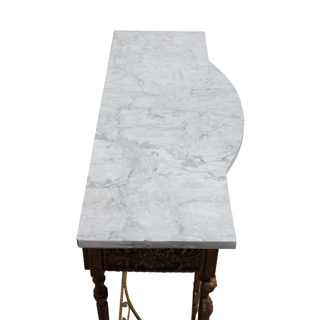 1920s Art Deco Marble Top Iron Table For Sale - Image 9 of 11