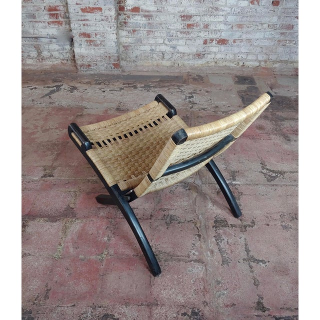 Contemporary Vintage Hans Wegner Woven Rope Folding Chair For Sale - Image 3 of 10
