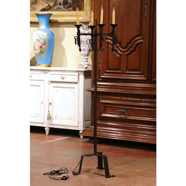 Early 20th Century French Gothic Forged Iron Four-Light Floor Lamp For Sale In Dallas - Image 6 of 13