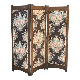 Antique Floral Panel Screen For Sale