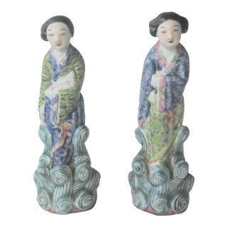 Antique Chinese Porcelain Statutes - a Pair For Sale