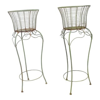 Early 21st Century Vintage Iron Matching Plant Stands- A Pair For Sale