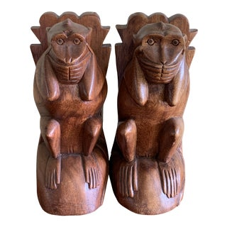 Wood Carved Monkey Bookends- a Pair For Sale