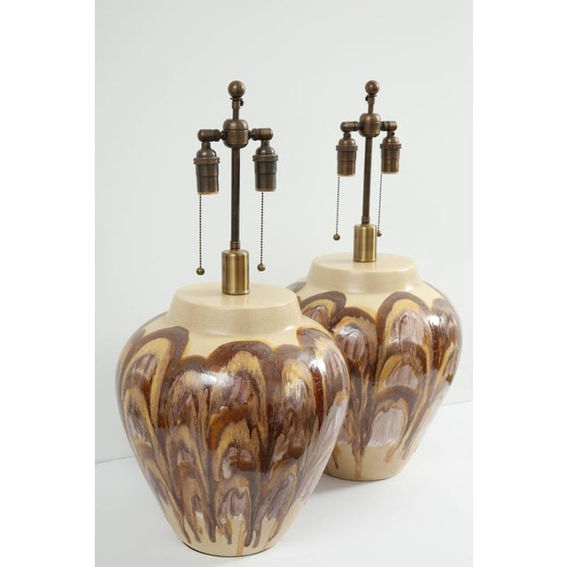 Pair of 1960s extra large ceramic lamps with a beautiful feathered glazed finish. The lamps have been newly rewired with...