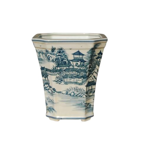Blue & White Chinoiserie Porcelain Cachepot Planter For Sale