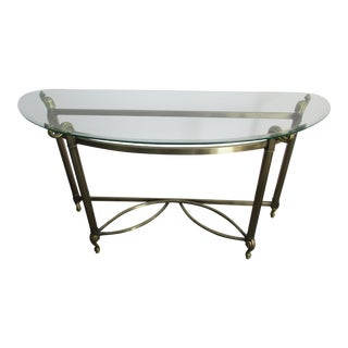 Brass Colored Demi-Lune Table With Glass Top