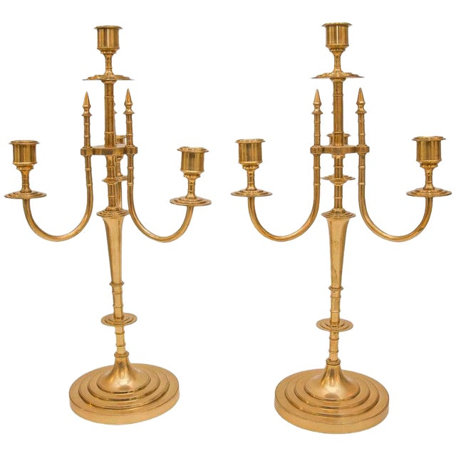 Brass Candelabrum 19th Century English - a Pair For Sale