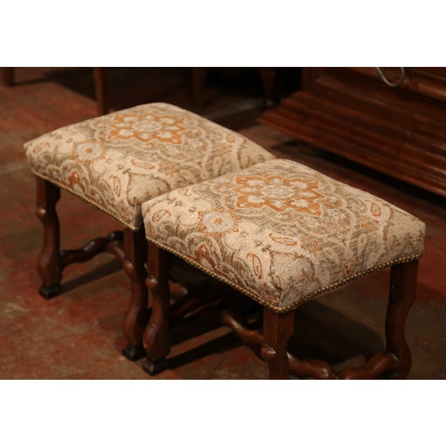 19th Century French Louis XIII Carved Walnut Os De Mouton Stools - a Pair For Sale In Dallas - Image 6 of 9