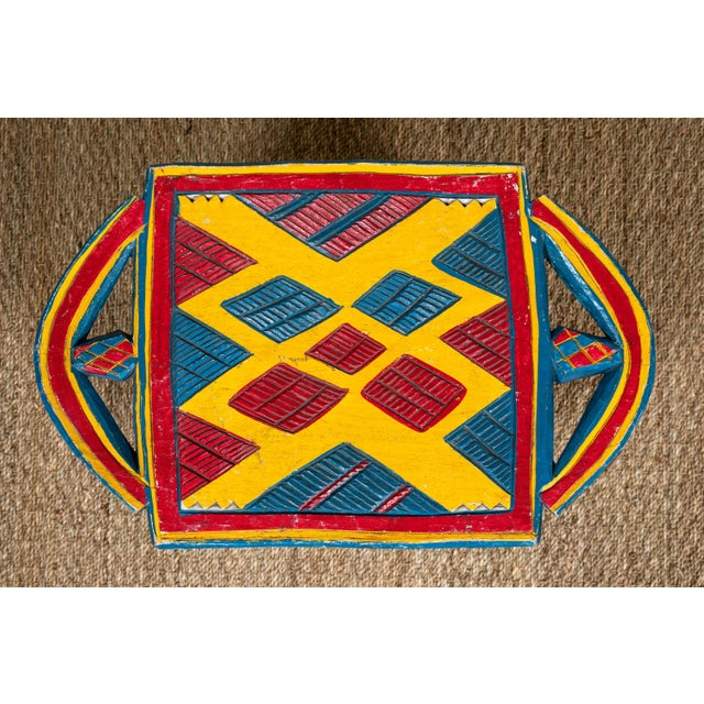 1990s African Painted Wood Stool For Sale - Image 5 of 7
