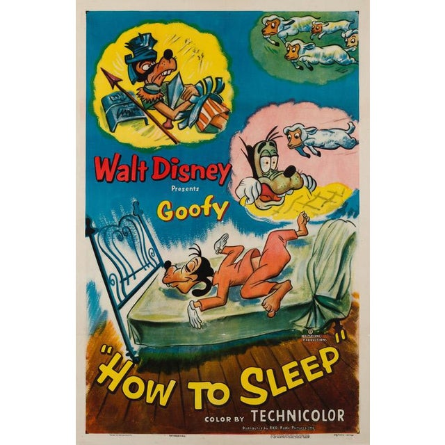 The charming, extremely rare, country-of-origin poster for Disney's Goofy classic How to Sleep. Early first-year-of-...