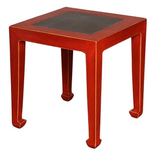 Art Deco Red Lacquered Chinese Table with Ming Dynasty Courtyard Stone Inset For Sale