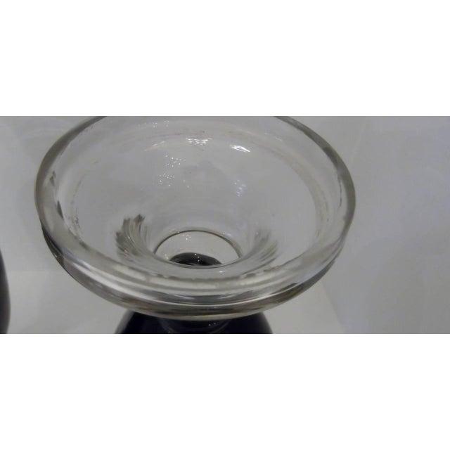 Antique Hand Enameled European Glass Garniture Vases - A Pair For Sale In Philadelphia - Image 6 of 7