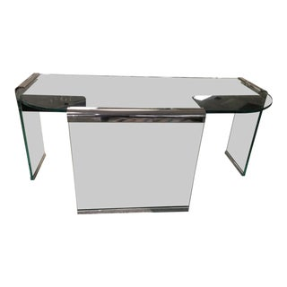 Mid Century Modern Chrome Metal Glass Office Executive Curved Glass Edge Desk For Sale