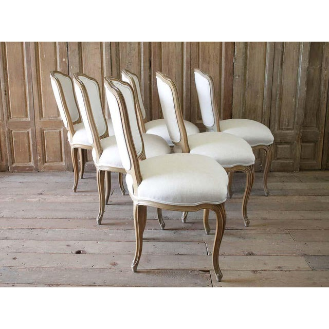 Set of Six Wood Louis XV Style Dining Chairs in Natural Belgian Linen For Sale - Image 9 of 11