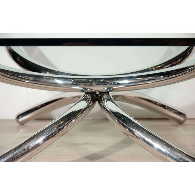 Chrome Italian Mid-Century Modern Coffee Table with Sculptural Base Design For Sale - Image 7 of 13