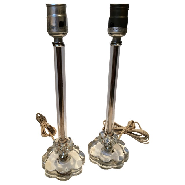 Vintage Glass Lamps - Pair - Image 2 of 8