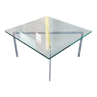 Vintage 1960s Mid Century Knoll Glass Top Mies Van Der Rohe Chrome Barcelona Style Glass Top Coffee Table For Sale