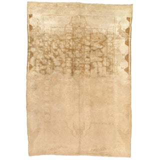 """Late 19th Century Antique Turkish Oushak Lambswool Rug - 4′4"""" × 6′6″ For Sale"""