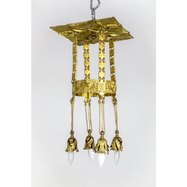 Vienna Secession Nouveau Brass Chandelier W/ Square Chain & Foliage For Sale - Image 12 of 13