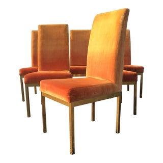 1970s Vintage Thomasville Velvet and Brass Dining Chairs - Set of 6 For Sale