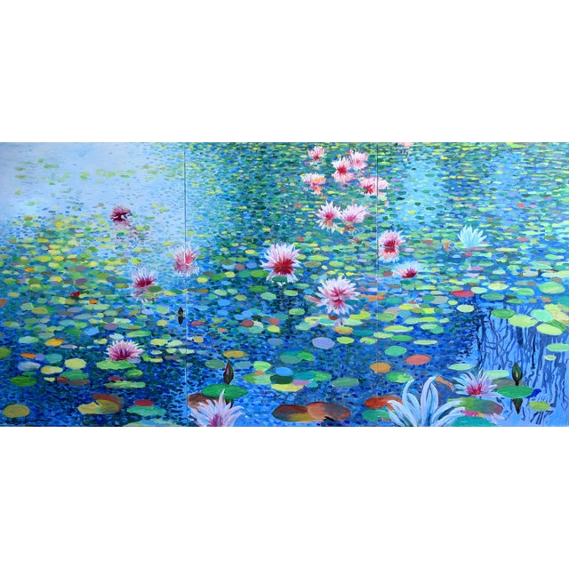 Contemporary Waterscape Triptych Painting - 3 Pieces For Sale