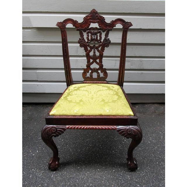 Set of Eight 20th Century English Chinese Chippendale Mahogany Dining Chairs For Sale - Image 9 of 10