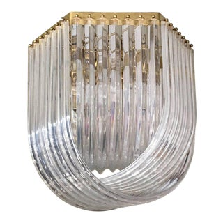 1970's Brass and Lucite Ribbon Style Chandelier For Sale