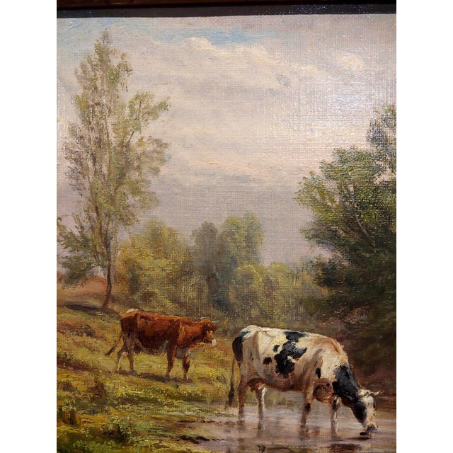 Thomas Craig -Cows Grazing by Water Under a Summer Sky-Oil Painting For Sale In Los Angeles - Image 6 of 11
