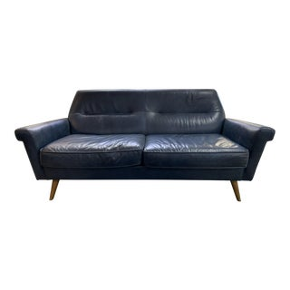 Early 21st Century West Elm Midnight Navy Blue Leather Sofa For Sale