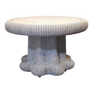 Scalloped Mushroom Shaped Mid Century Modern Wicker Dining Table For Sale