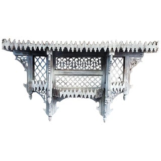 Moroccan White Wash Wooden Wall Shelf For Sale