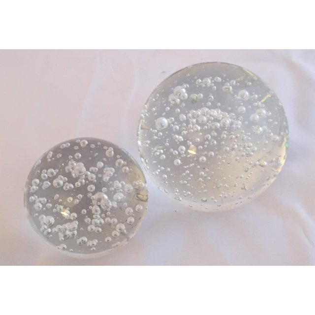 Clear Glass Decorative Bubble Balls - A Pair - Image 2 of 4