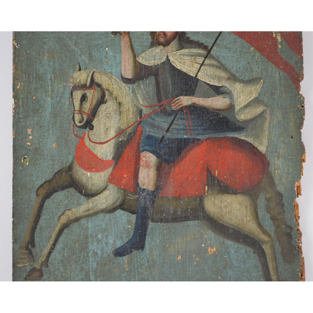 Late 18th Century 18th Century Spanish Colonial Folk Retablo of St. James the Moor-Slayer For Sale - Image 5 of 13