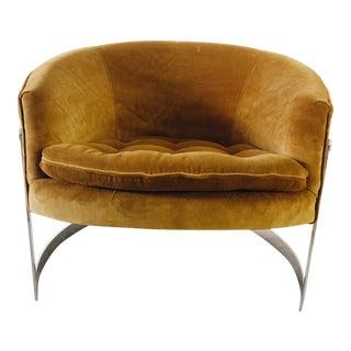 1960s Vintage Milo Baughman Cantilever Chrome Barrel Chair For Sale