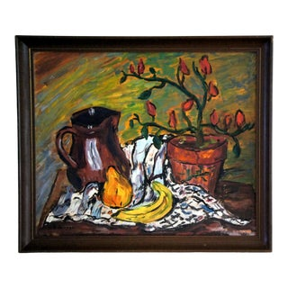 1970s Vintage Herb Robinson Original Oil on Canvas Still Life Painting For Sale