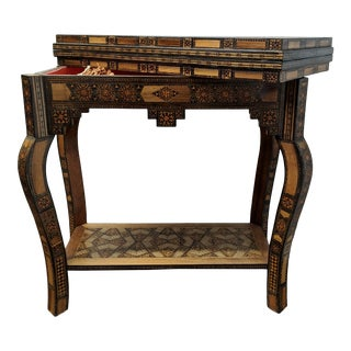 Antique Syrian Parquetry Game Table with Game Pieces For Sale