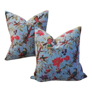 Sumptuous Cotton Velvet Pillows Pair For Sale