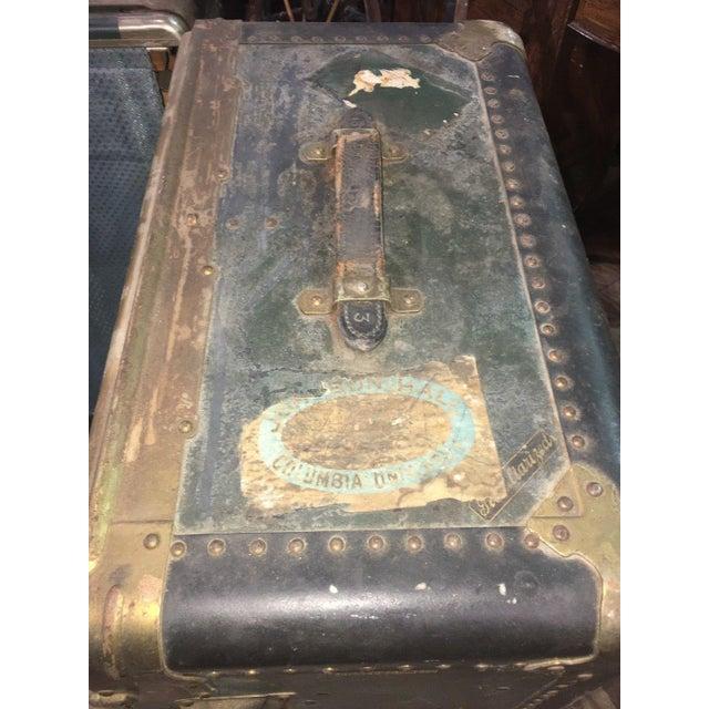 Green Antique Hartmann Wardrobe Steamer Luggage For Sale - Image 8 of 12
