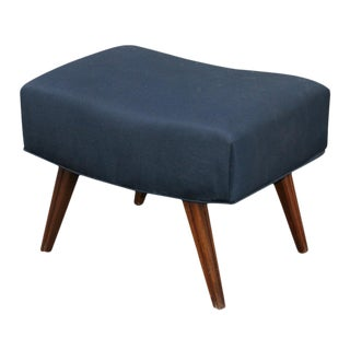 1960's Vintage Black & Wood Ottoman For Sale